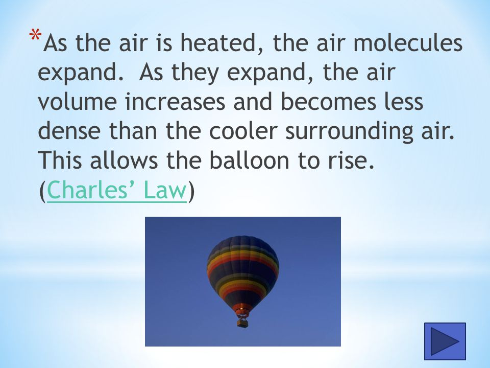 * Why does a hot air balloon rise when the air inside the balloon is heated. Assume the surrounding air pressure is relatively constant as the balloon