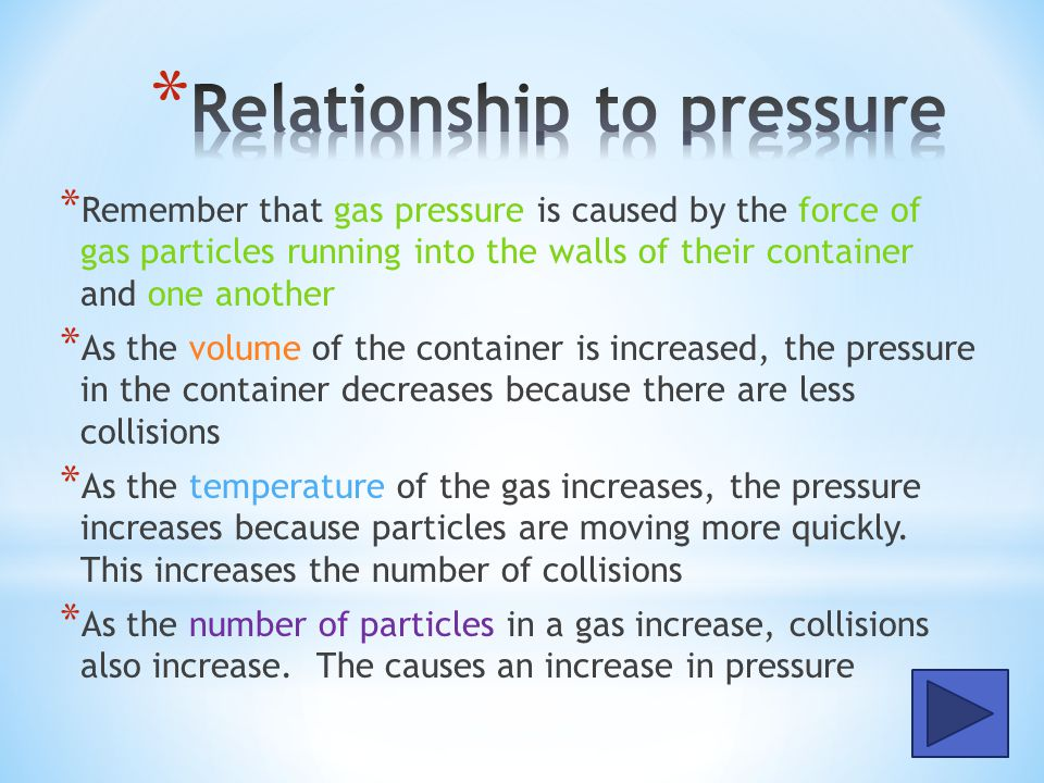 * Gay-Lussacs Law relates the variables of pressure and temperature * According to this law, as the temperature of a gas decreases, the pressure of the gas also decreases * This is a direct relationship * The equation for Gay Lussacs Law is written as: P 1 /T 1 = P 2 /T 2