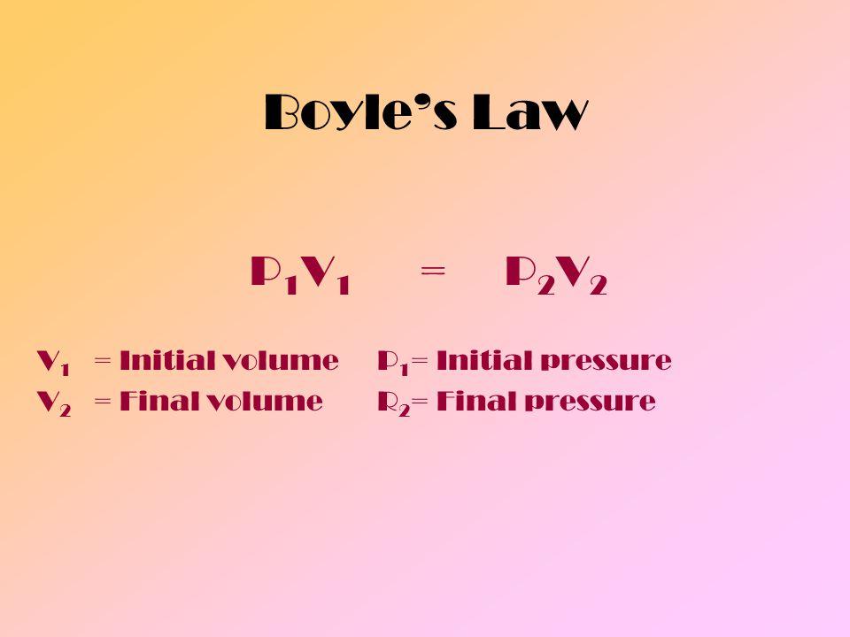 Boyles Law P 1 V 1 =P 2 V 2 V 1 = Initial volumeP 1 = Initial pressure V 2 = Final volumeR 2 = Final pressure