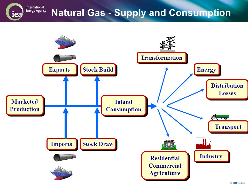© OECD/IEA 2013 Natural Gas - Supply and Consumption Marketed Production Imports Exports Stock Build Inland Consumption Transport Transformation Industry Residential Commercial Agriculture Stock Draw Distribution Losses Energy