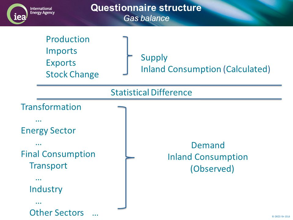 © OECD/IEA 2013 Questionnaire structure Gas balance Production Imports Exports Stock Change Statistical Difference Transformation … Energy Sector … Final Consumption Transport … Industry … Other Sectors… Demand Inland Consumption (Observed) Supply Inland Consumption (Calculated)