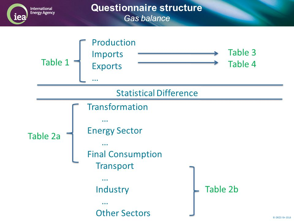 © OECD/IEA 2013 Questionnaire structure Gas balance Production Imports Exports … Statistical Difference Transformation … Energy Sector … Final Consumption Transport … Industry … Other Sectors … Table 3 Table 4 Table 1 Table 2b Table 2a