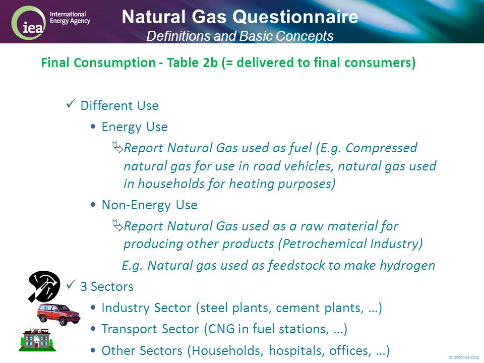 © OECD/IEA 2013 Final Consumption - Table 2b (= delivered to final consumers) Different Use Energy Use Report Natural Gas used as fuel (E.g.