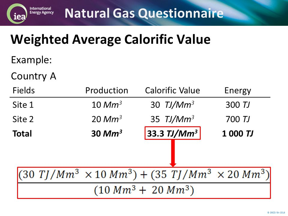 © OECD/IEA 2013 Example: Country A Natural Gas Questionnaire Weighted Average Calorific Value FieldsProductionCalorific ValueEnergy Site 110 Mm 3 30 TJ/Mm 3 300 TJ Site 220 Mm 3 35 TJ/Mm 3 700 TJ Total30 Mm 3 33.3 TJ/Mm 3 1 000 TJ