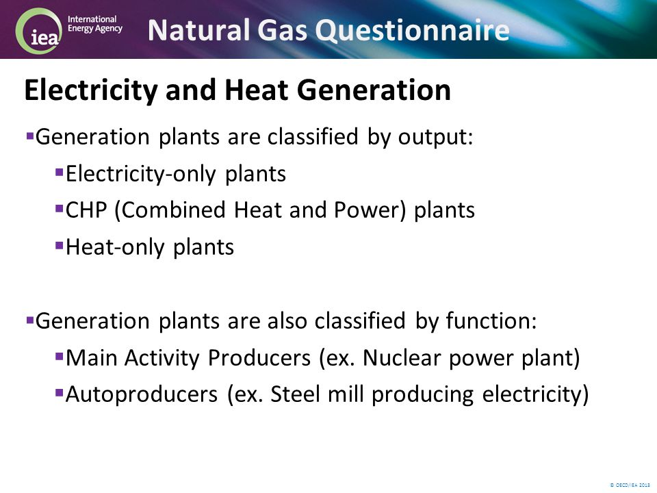 © OECD/IEA 2013 Natural Gas Questionnaire Electricity and Heat Generation Generation plants are classified by output: Electricity-only plants CHP (Combined Heat and Power) plants Heat-only plants Generation plants are also classified by function: Main Activity Producers (ex.