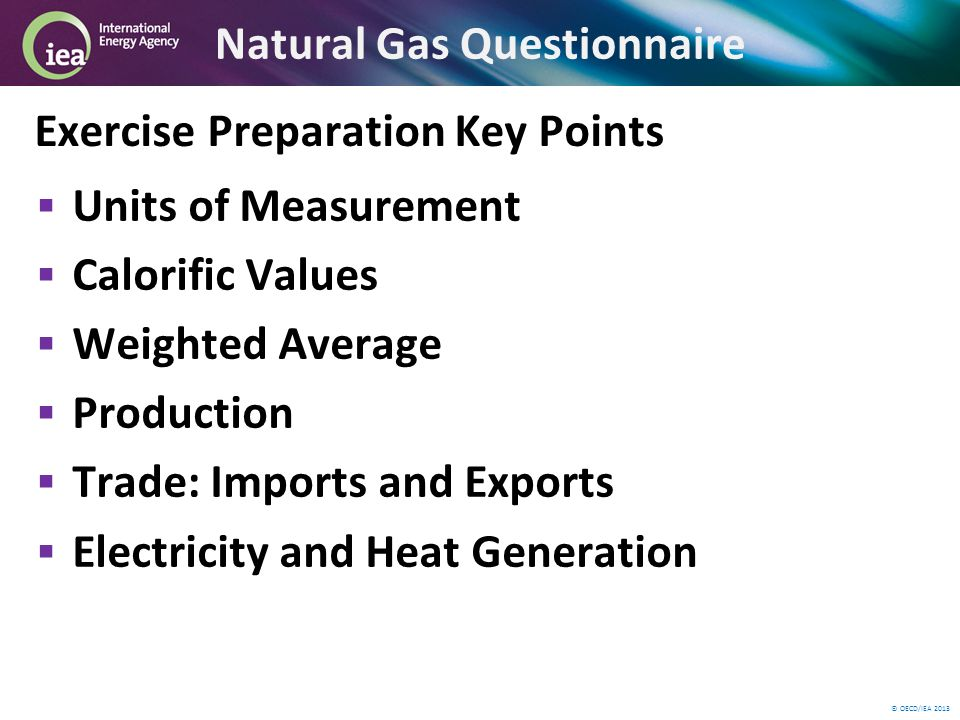© OECD/IEA 2013 Natural Gas Questionnaire Exercise Preparation Key Points Units of Measurement Calorific Values Weighted Average Production Trade: Imports and Exports Electricity and Heat Generation