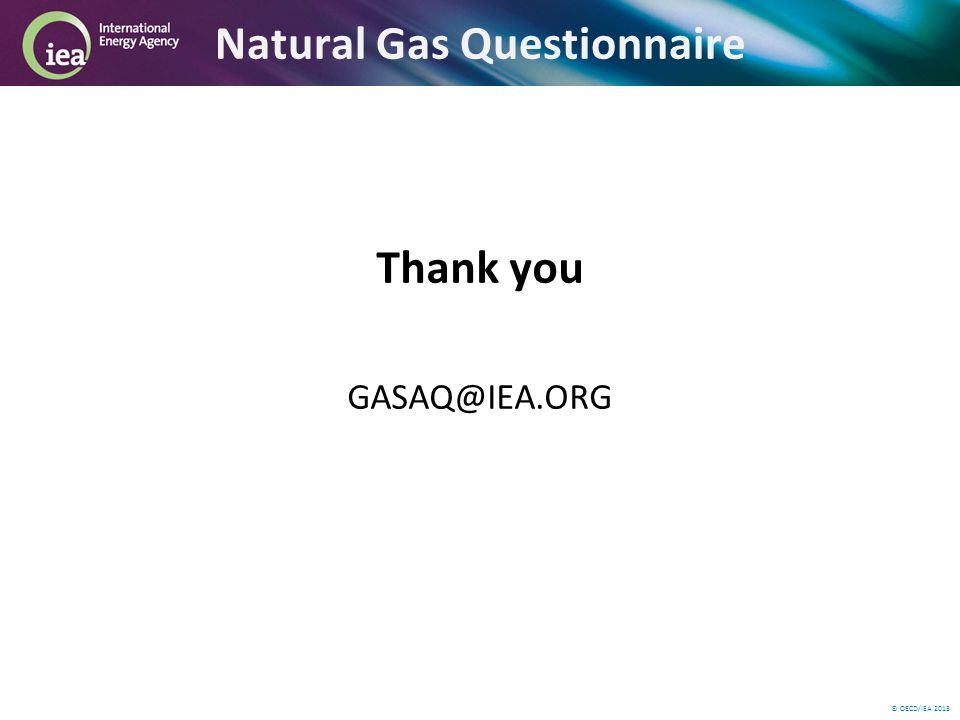 © OECD/IEA 2013 Natural Gas Questionnaire Thank you GASAQ@IEA.ORG