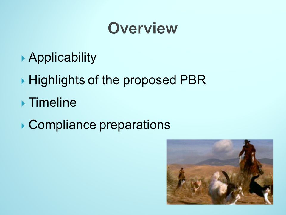 Applicability Highlights of the proposed PBR Timeline Compliance preparations