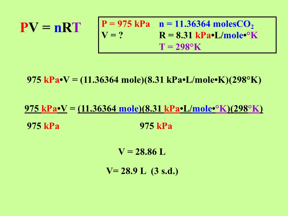 PV = nRT P = 975 kPan = 11.36364 molesCO 2 V = ?R = 8.31 kPaL/mole°K T = 298°K 975 kPaV = (11.36364 mole)(8.31 kPaL/moleK)(298°K) 975 kPaV = (11.36364 mole)(8.31 kPaL/mole°K)(298°K) 975 kPa975 kPa V = 28.86 L V= 28.9 L (3 s.d.)