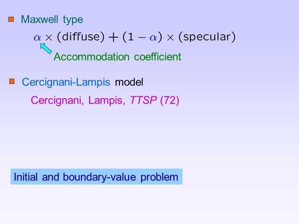 Maxwell type Accommodation coefficient Cercignani-Lampis model Cercignani, Lampis, TTSP (72) Initial and boundary-value problem
