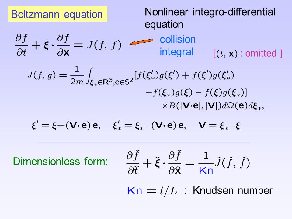 collision integral Boltzmann equation Nonlinear integro-differential equation [ : omitted ] Dimensionless form: : Knudsen number