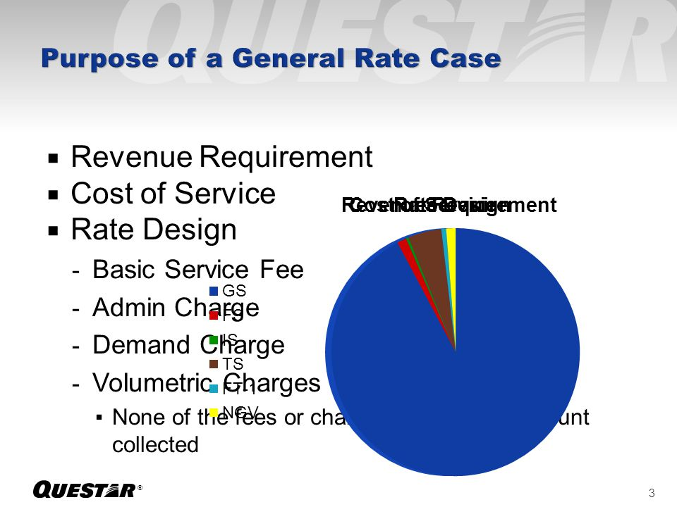 ® Revenue Requirement Cost of Service Rate Design - Basic Service Fee - Admin Charge - Demand Charge - Volumetric Charges None of the fees or charges change the amount collected 3