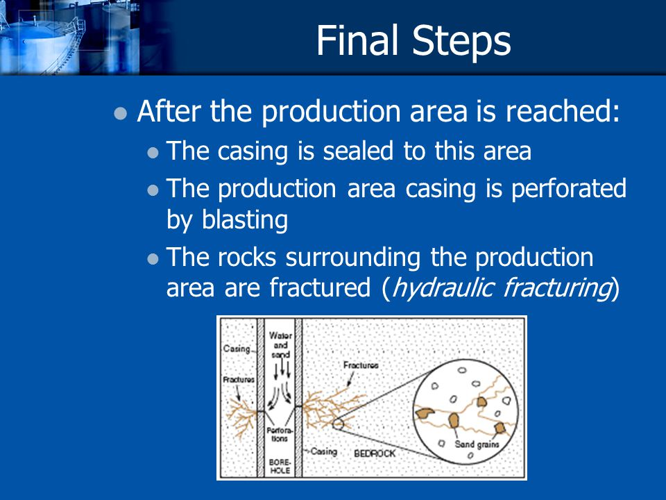 Final Steps After the production area is reached: The casing is sealed to this area The production area casing is perforated by blasting The rocks sur