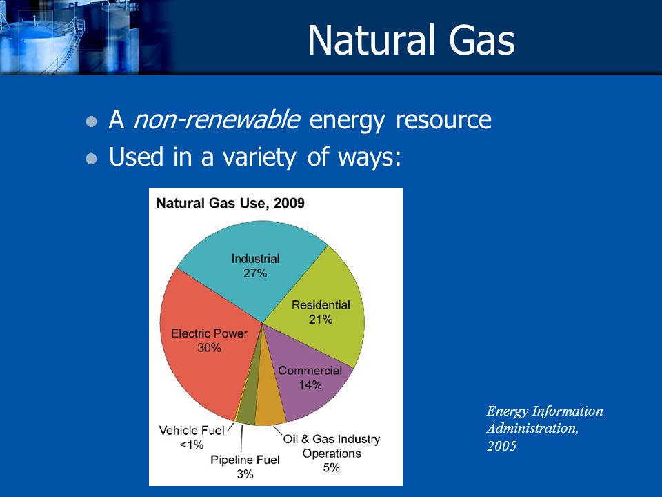 Natural Gas A non-renewable energy resource Used in a variety of ways: Energy Information Administration, 2005