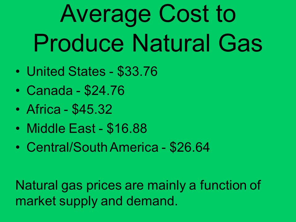 Average Cost to Produce Natural Gas United States - $33.76 Canada - $24.76 Africa - $45.32 Middle East - $16.88 Central/South America - $26.64 Natural