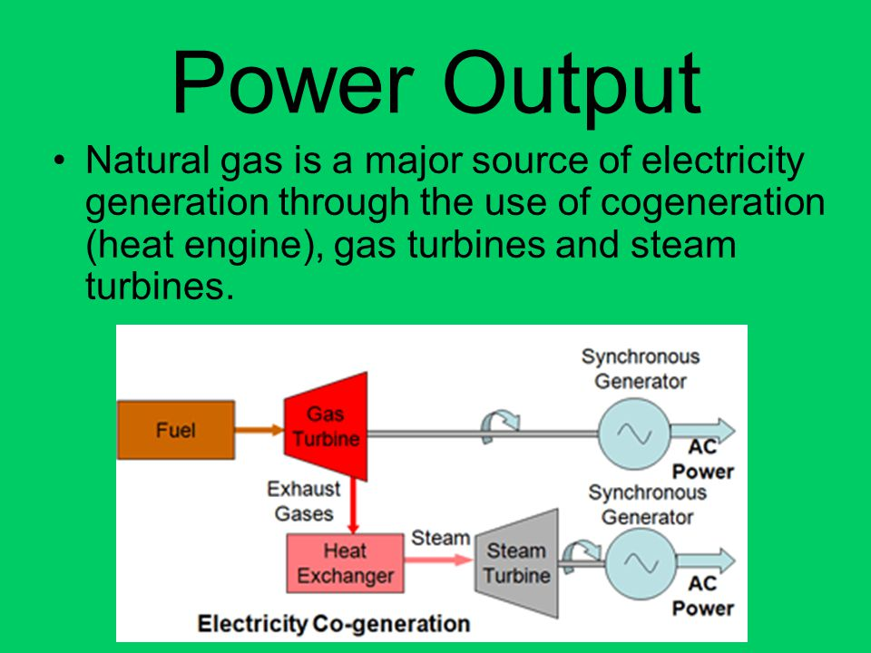 Power Output Natural gas is a major source of electricity generation through the use of cogeneration (heat engine), gas turbines and steam turbines.