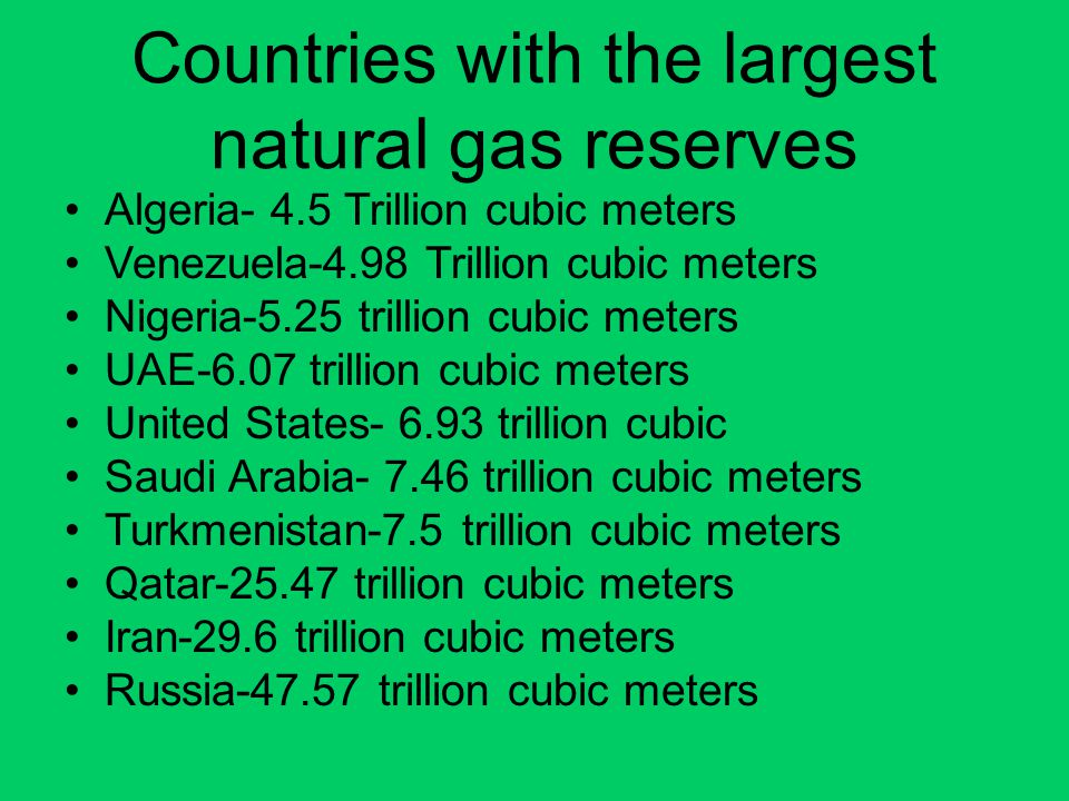 Countries with the largest natural gas reserves Algeria- 4.5 Trillion cubic meters Venezuela-4.98 Trillion cubic meters Nigeria-5.25 trillion cubic me