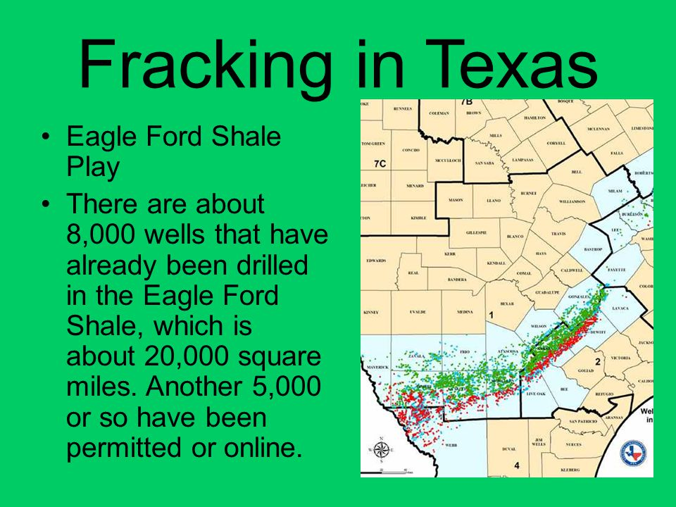 Fracking in Texas Eagle Ford Shale Play There are about 8,000 wells that have already been drilled in the Eagle Ford Shale, which is about 20,000 squa