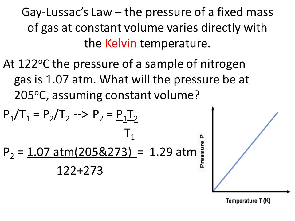Gay-Lussacs Law – the pressure of a fixed mass of gas at constant volume varies directly with the Kelvin temperature.