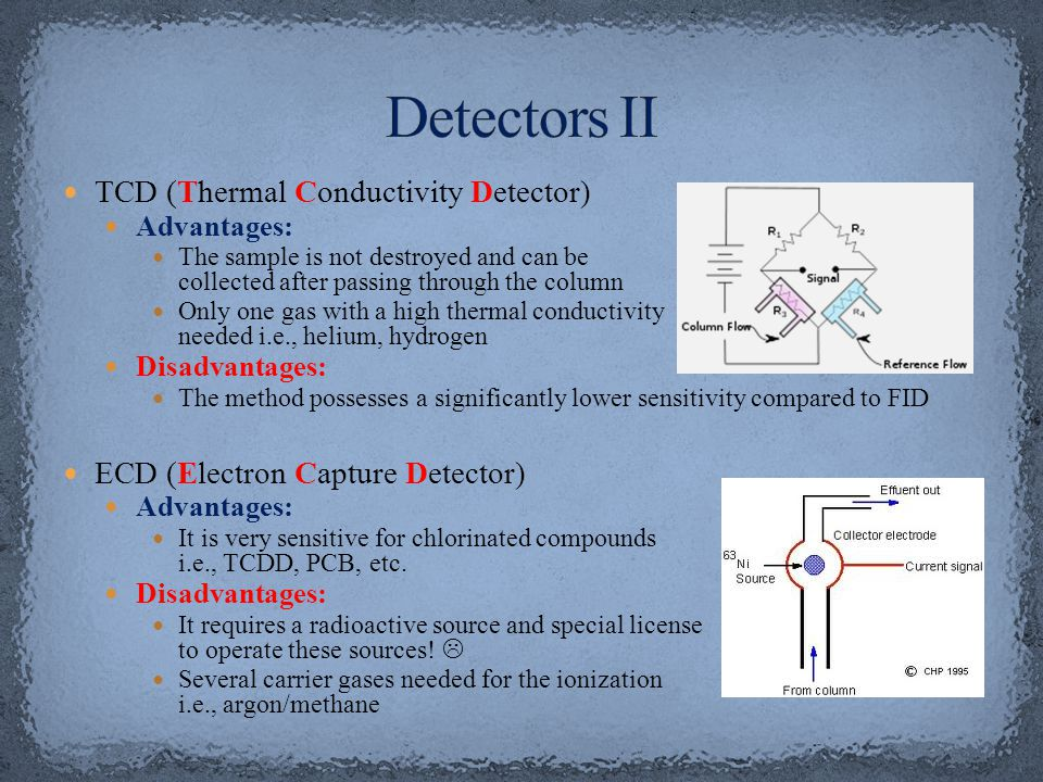 TCD (Thermal Conductivity Detector) Advantages: The sample is not destroyed and can be collected after passing through the column Only one gas with a