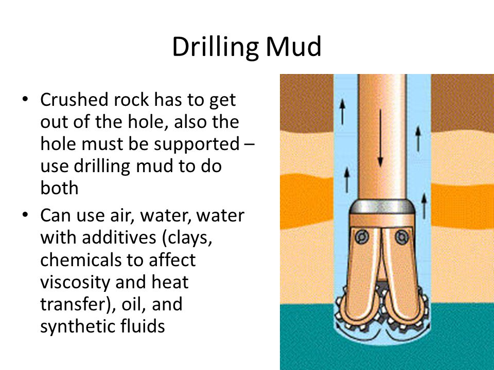 Drilling Mud Crushed rock has to get out of the hole, also the hole must be supported – use drilling mud to do both Can use air, water, water with add