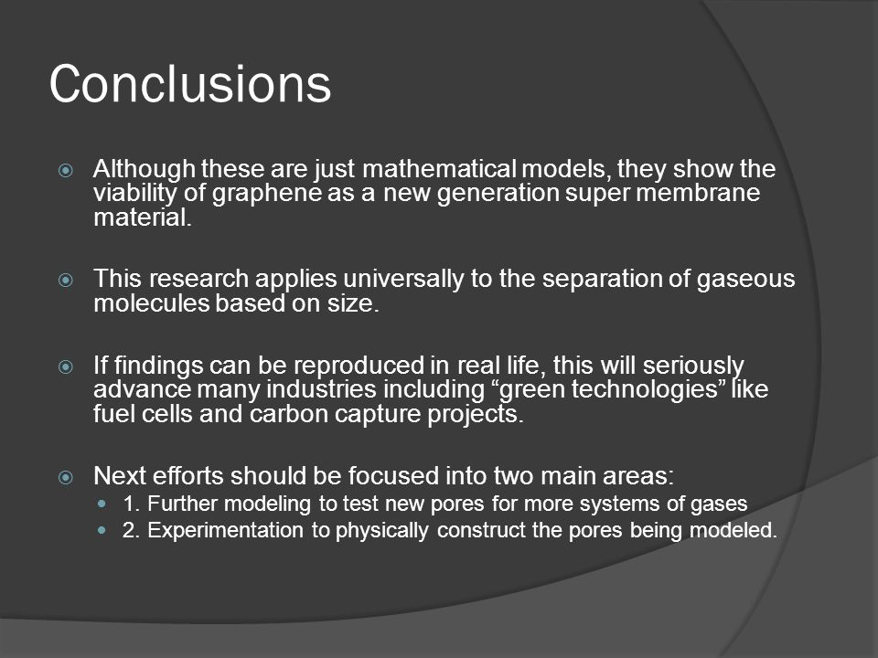 Conclusions Although these are just mathematical models, they show the viability of graphene as a new generation super membrane material. This researc