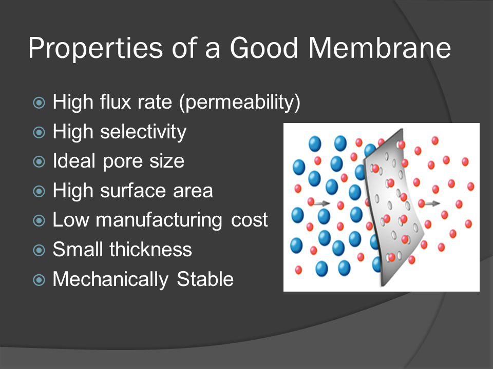 Properties of a Good Membrane High flux rate (permeability) High selectivity Ideal pore size High surface area Low manufacturing cost Small thickness
