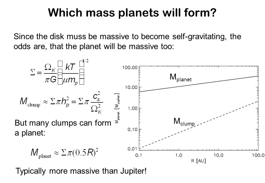 Which mass planets will form? Since the disk muss be massive to become self-gravitating, the odds are, that the planet will be massive too: But many c