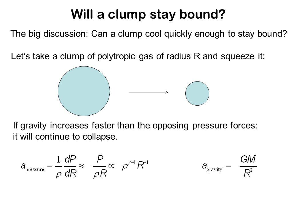 Will a clump stay bound. The big discussion: Can a clump cool quickly enough to stay bound.