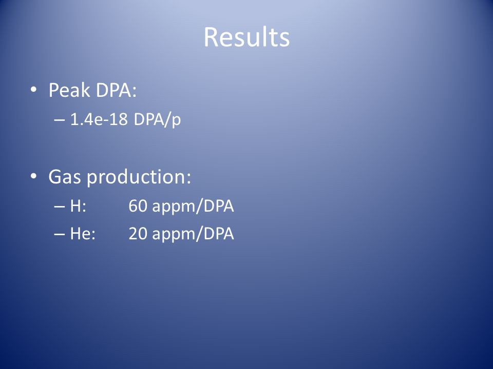 Results Peak DPA: – 1.4e-18 DPA/p Gas production: – H:60 appm/DPA – He:20 appm/DPA