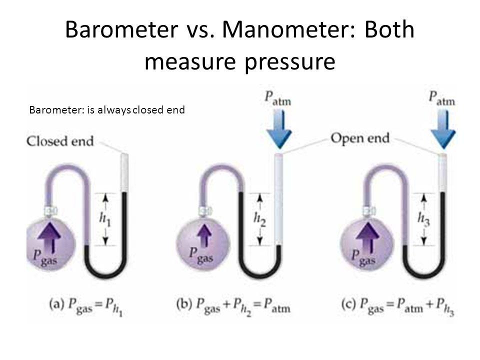 Barometer vs. Manometer: Both measure pressure Barometer: is always closed end