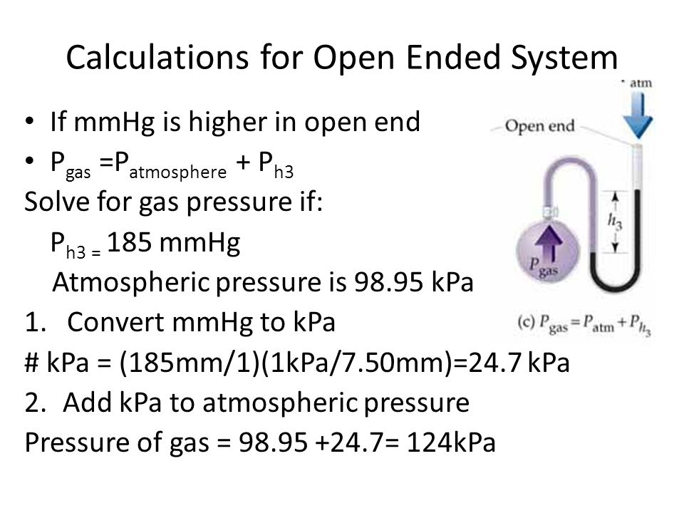Closed system: Used to measure pressure of a gas The closed arm is filled with gas, what is the pressure of the gas, in kPa.