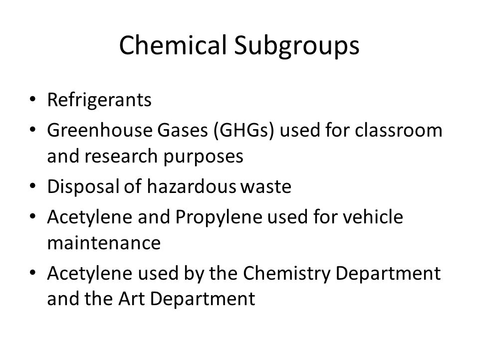 Chemical Emissions Chemical SubgroupeCO 2 Emitted (Metric Tons) Refrigerants0.00 GHGs0.23 Hazardous Waste2.94 Acetylene (Welding)0.066 Propylene (Welding)0.036 Total3.27
