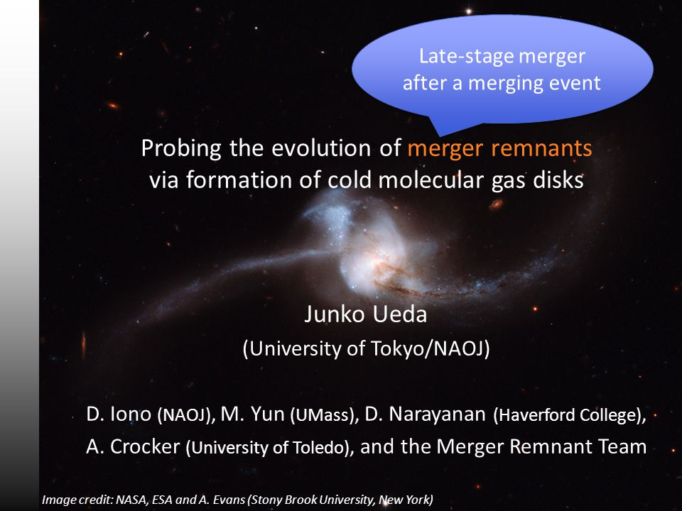 Image credit: NASA, ESA and A. Evans (Stony Brook University, New York) Probing the evolution of merger remnants via formation of cold molecular gas d