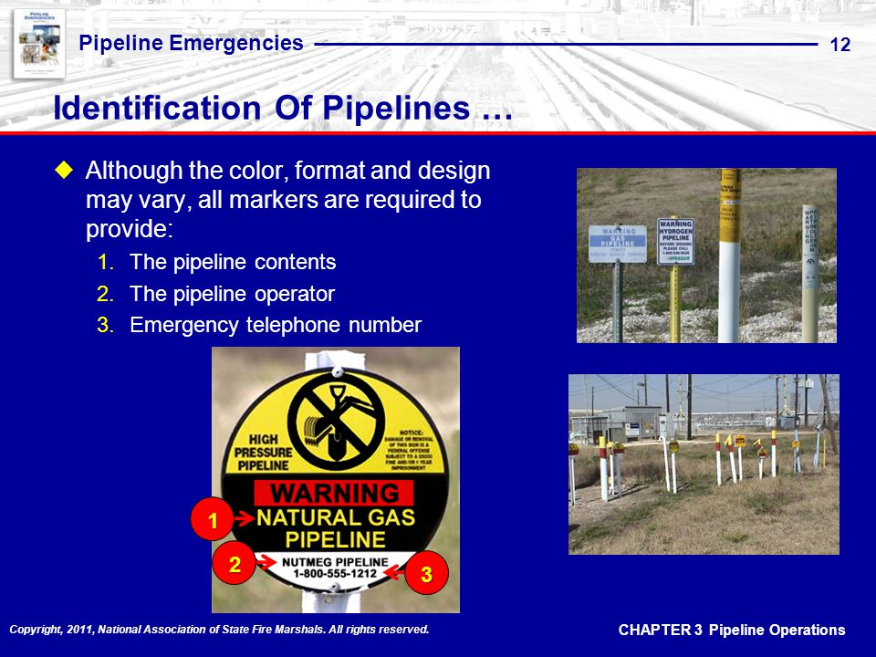 CHAPTER 3 Pipeline Operations Pipeline Emergencies 12 Copyright, 2011, National Association of State Fire Marshals.