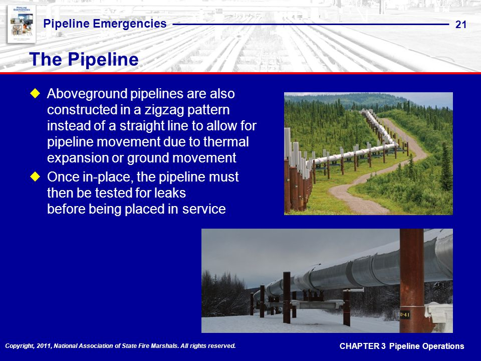 CHAPTER 3 Pipeline Operations Pipeline Emergencies 21 Copyright, 2011, National Association of State Fire Marshals.