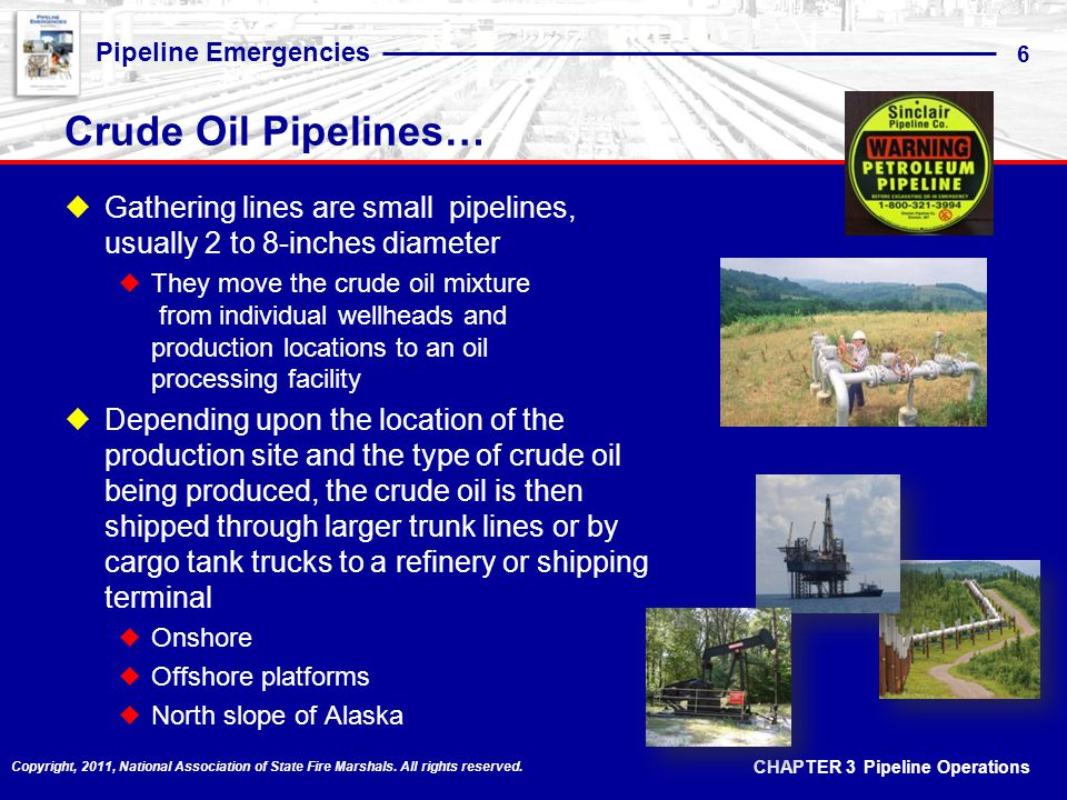 CHAPTER 3 Pipeline Operations Pipeline Emergencies 6 Copyright, 2011, National Association of State Fire Marshals.