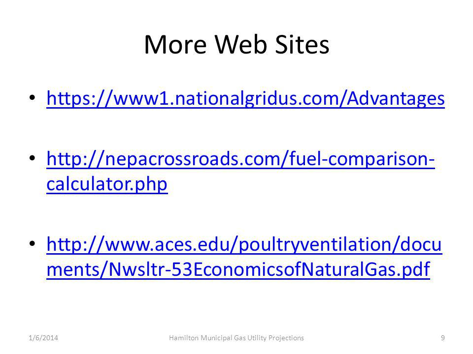 More Web Sites https://www1.nationalgridus.com/Advantages http://nepacrossroads.com/fuel-comparison- calculator.php http://nepacrossroads.com/fuel-comparison- calculator.php http://www.aces.edu/poultryventilation/docu ments/Nwsltr-53EconomicsofNaturalGas.pdf http://www.aces.edu/poultryventilation/docu ments/Nwsltr-53EconomicsofNaturalGas.pdf 1/6/2014Hamilton Municipal Gas Utility Projections9