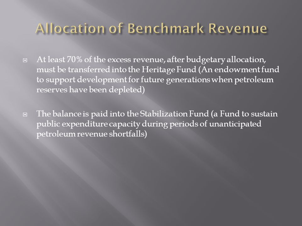 At least 70% of the excess revenue, after budgetary allocation, must be transferred into the Heritage Fund (An endowment fund to support development for future generations when petroleum reserves have been depleted) The balance is paid into the Stabilization Fund (a Fund to sustain public expenditure capacity during periods of unanticipated petroleum revenue shortfalls)