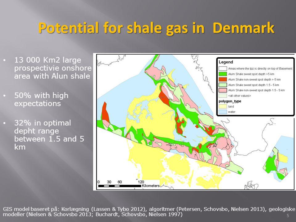 5 GIS model baseret på: Korlægning (Lassen & Tybo 2012), algoritmer (Petersen, Schovsbo, Nielsen 2013), geologiske modeller (Nielsen & Schovsbo 2013; Buchardt, Schovsbo, Nielsen 1997) © GEUS 2013 13 000 Km2 large prospectivie onshore area with Alun shale 50% with high expectations 32% in optimal depht range between 1.5 and 5 km Potential for shale gas in Denmark