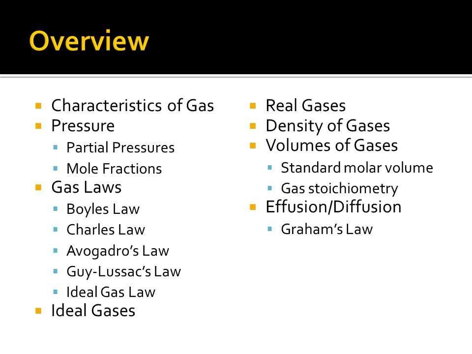 Characteristics of Gas Pressure Partial Pressures Mole Fractions Gas Laws Boyles Law Charles Law Avogadros Law Guy-Lussacs Law Ideal Gas Law Ideal Gas
