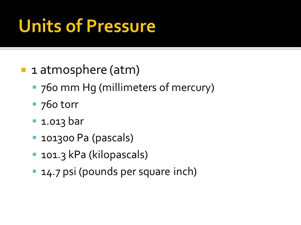 1 atmosphere (atm) 760 mm Hg (millimeters of mercury) 760 torr 1.013 bar 101300 Pa (pascals) 101.3 kPa (kilopascals) 14.7 psi (pounds per square inch)