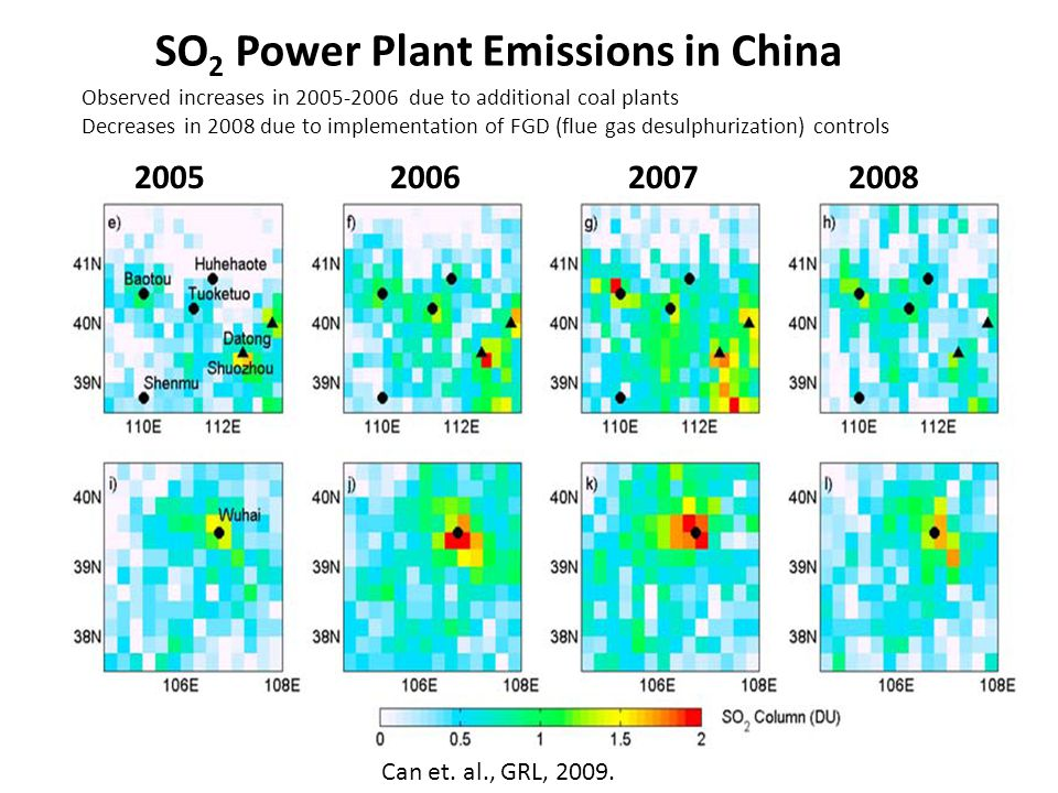 Observed increases in 2005-2006 due to additional coal plants Decreases in 2008 due to implementation of FGD (flue gas desulphurization) controls 2005200620072008 Can et.