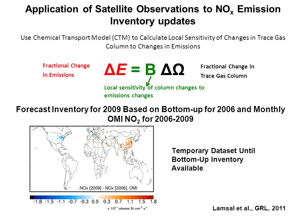 Application of Satellite Observations to NO x Emission Inventory updates Use Chemical Transport Model (CTM) to Calculate Local Sensitivity of Changes in Trace Gas Column to Changes in Emissions Local sensitivity of column changes to emissions changes Fractional Change in Emissions Fractional Change in Trace Gas Column Lamsal et al., GRL, 2011 Forecast Inventory for 2009 Based on Bottom-up for 2006 and Monthly OMI NO 2 for 2006-2009 Temporary Dataset Until Bottom-Up Inventory Available ΔE = B ΔΩ