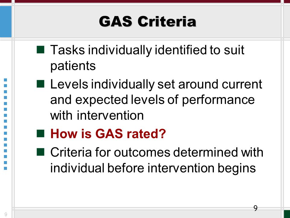 9 GAS Criteria Tasks individually identified to suit patients Levels individually set around current and expected levels of performance with intervention How is GAS rated.