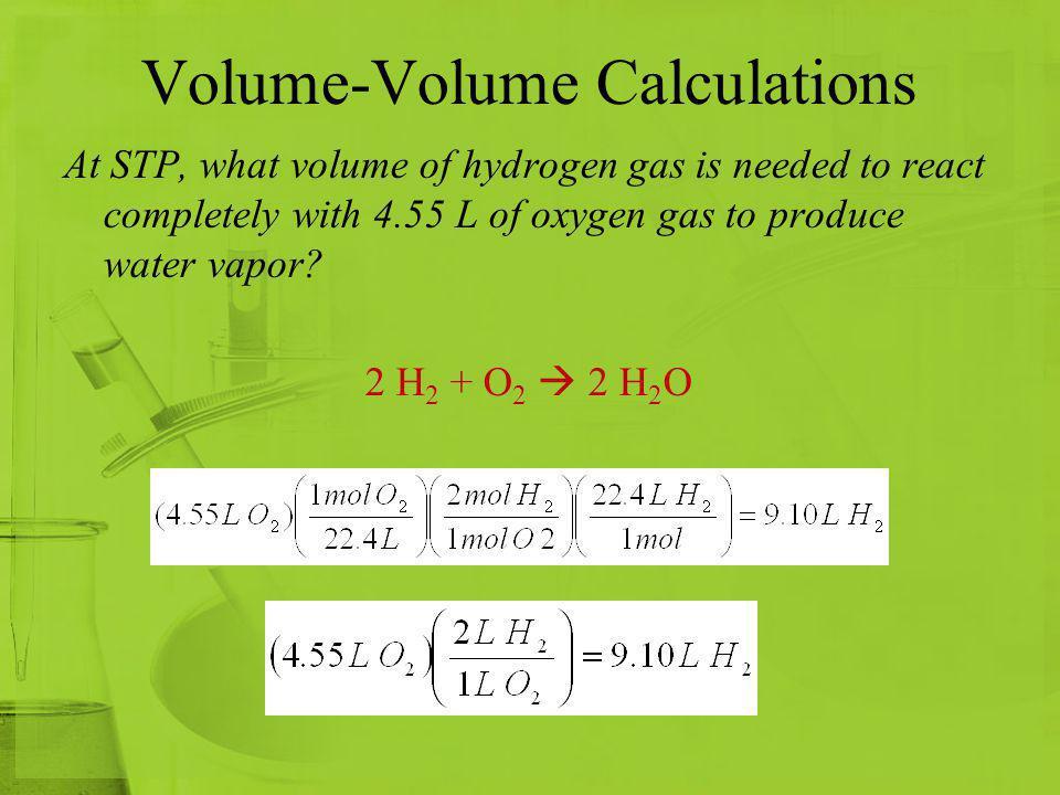 Stoichiometry of Gases 2 CO (g) + O 2 (g) 2 CO 2 (g) 2 molecules CO + 1 molecule O 2 2 molecules CO 2 2 mol CO + 1 mol O 2 2 moles CO 2 2 L CO + 1 L O 2 2 L CO 2