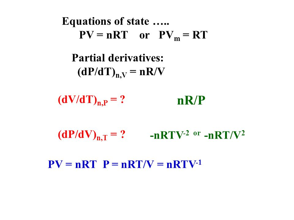 Equations of state …..