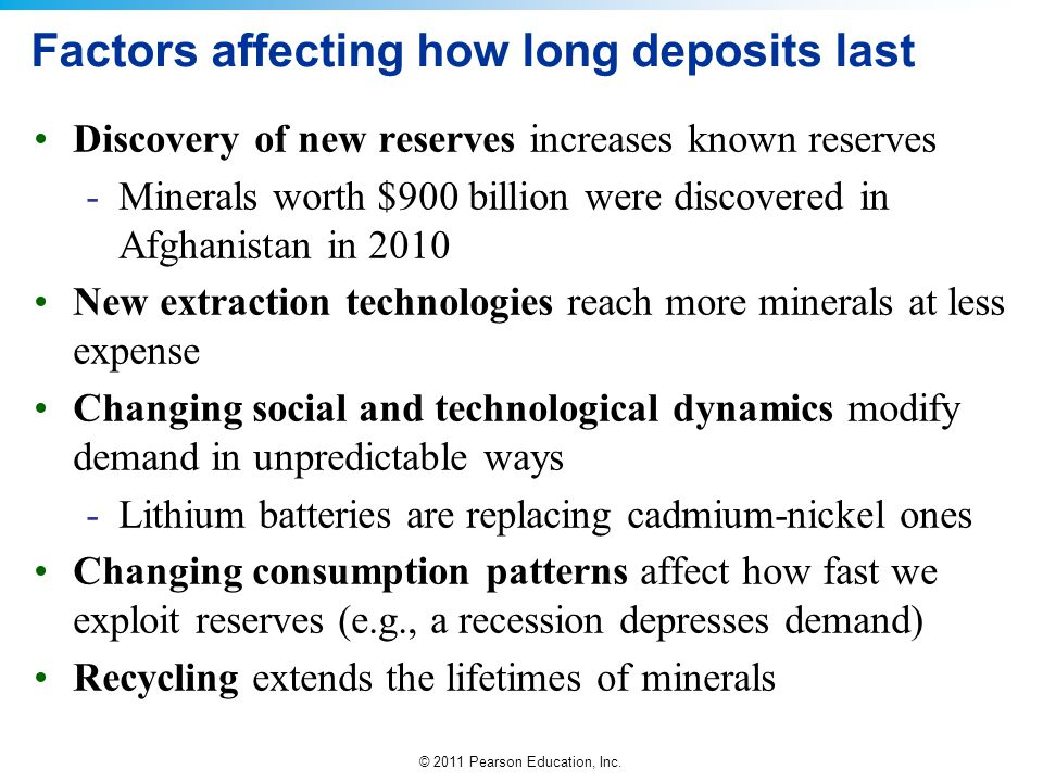 © 2011 Pearson Education, Inc. Factors affecting how long deposits last Discovery of new reserves increases known reserves -Minerals worth $900 billio