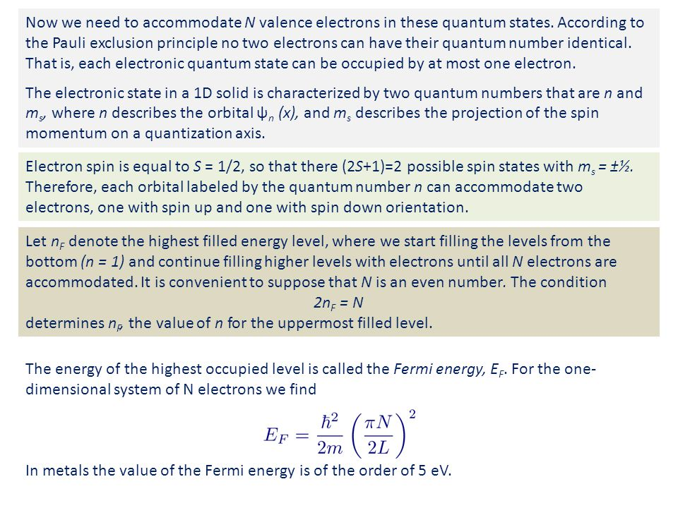 Now we need to accommodate N valence electrons in these quantum states.