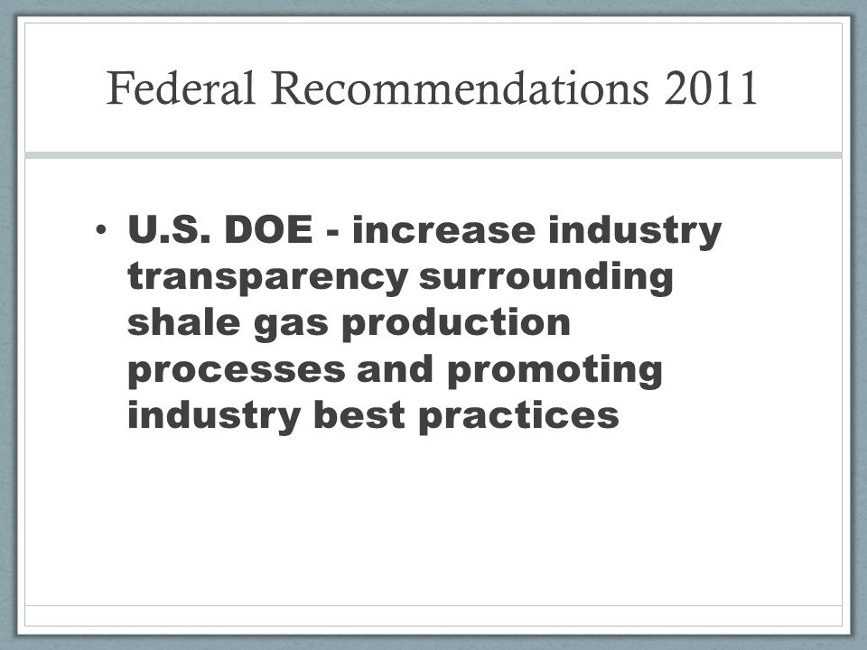 Federal Recommendations 2011 U.S.